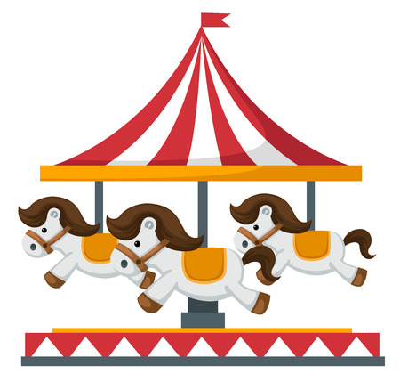 Illustration of isolated vintage merry-go-round carousel vector Çizim