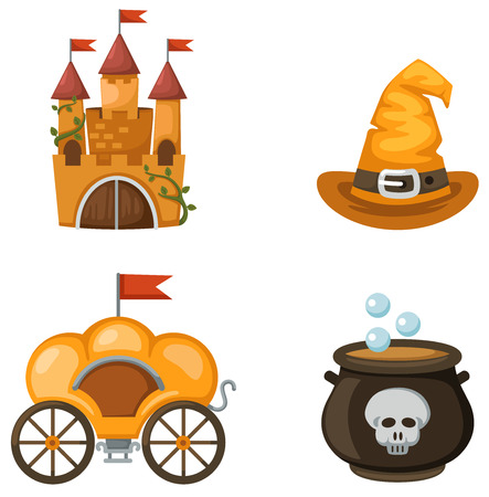 brewing house: illustration isolated colorful castle,carriage,witch hat,witches cauldron vector Illustration