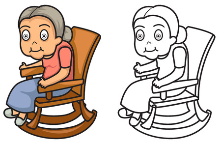 Illustration of isolated colorful and black and white grandmother for coloring book Vektoros illusztráció