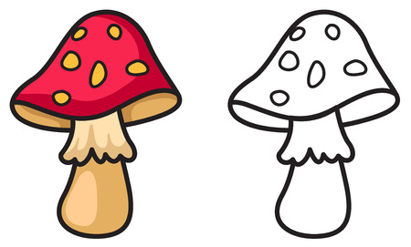 fleshy: Illustration of isolated  colorful and black and white mushrooms for coloring book