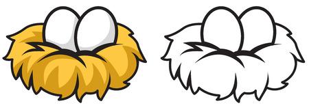 Illustration d'?ufs colorés et en noir et blanc isolées et nid pour livre de coloriage