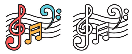 music book: Illustration of isolated colorful and black and white music notes for coloring book