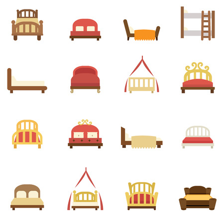 hotel bed: Illustration of bed icons vector