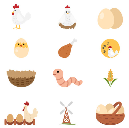 eggs: illustration of chicken icon set vector