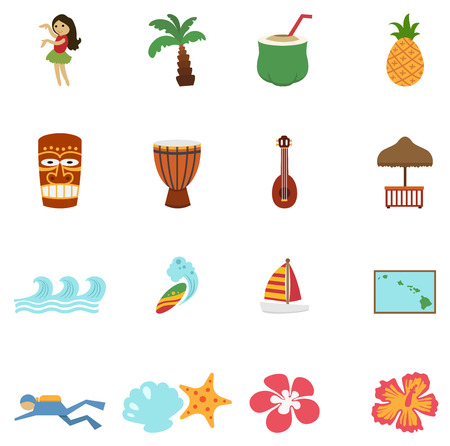 hawaii islands: illustration of tropical hawaii island and beach icons