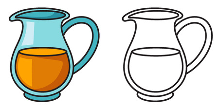Illustration of isolated colorful and black and white jug for coloring book