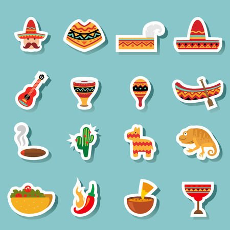 spanish house: illustration of mexico icons vector