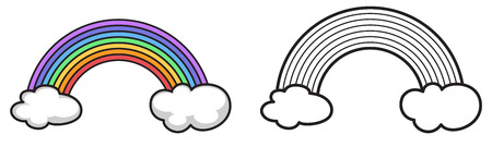 rain cartoon: Illustration of isolated colorful and black and white rainbow for coloring book