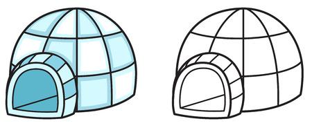 esquimales: Ilustración de iglú de colores y blanco y negro aislado de libro para colorear vector Vectores