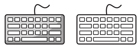 escape key: Illustration of isolated colorful and black and white keyboard for coloring book Illustration