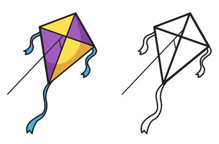 塗り絵の分離とカラフルな黒と白の凧のイラスト