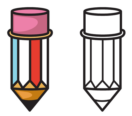 everyday: Illustration of isolated colorful and black and white pencil for coloring book