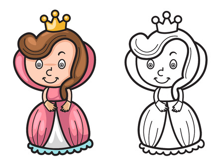 Illustration of isolated colorful and black and white queen for coloring book