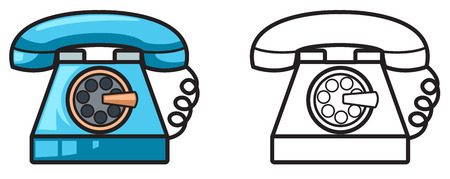 old phone: illustration of isolated colorful and black and white telephone for coloring book Illustration