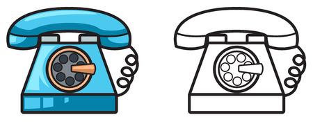 telefono caricatura: ilustración de teléfono de colores y blanco y negro aislado de libro para colorear