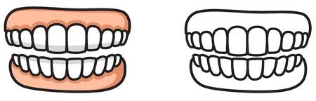 dientes sucios: ilustración de dientes colorido y negro y blanco aisladas de libro para colorear