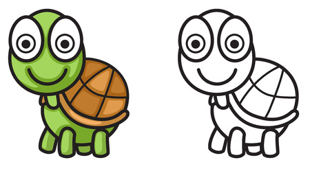 Illustration Of Isolated Colorful And Black White Turtle For Coloring Book Vector