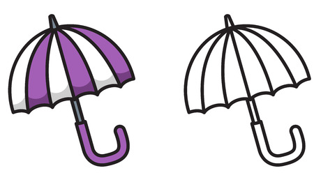 illustration of isolated colorful and black and white umbrella for coloring book