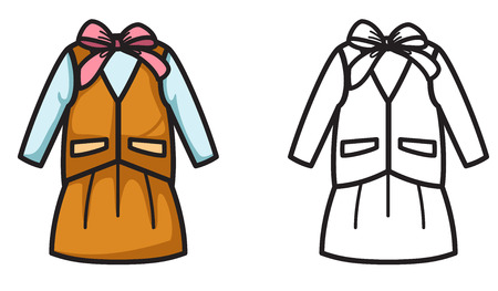 white uniform: illustration of isolated colorful and black and white uniform for coloring book Illustration