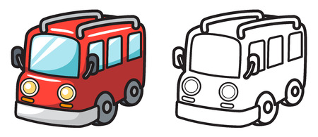 illustration of isolated colorful and black and white van for coloring book Vector