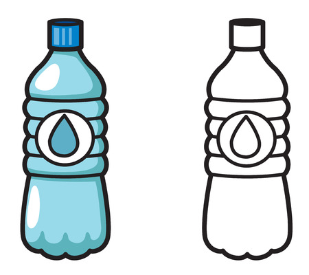 bottled water: illustration of isolated colorful and black and white water for coloring book