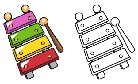 xylophone: illustration of isolated colorful and black and white xylophone for coloring book