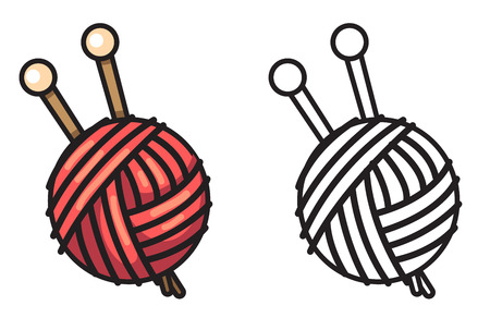 illustration of isolated colorful and black and white yarn for coloring book
