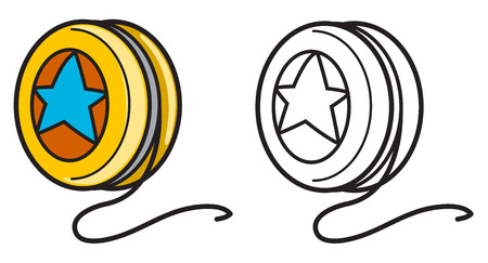 yoyo: illustration of isolated colorful and black and white yo-yo for coloring book Illustration