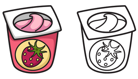 illustration of isolated colorful and black and white yogurt for coloring book