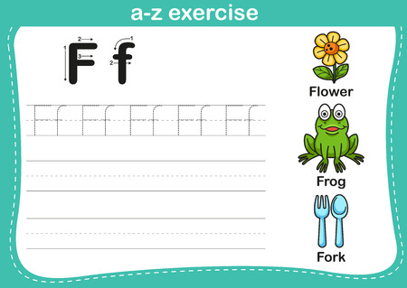 student with books: Alphabet a-z exercise with cartoon vocabulary illustration, vector