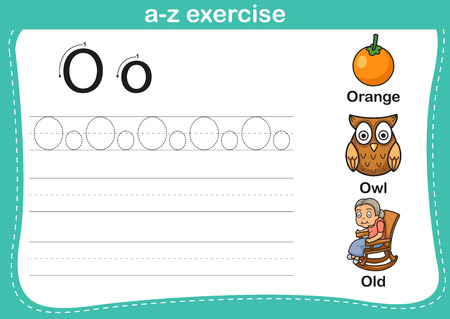 grandmother: Alphabet a-z exercise with cartoon vocabulary illustration, vector