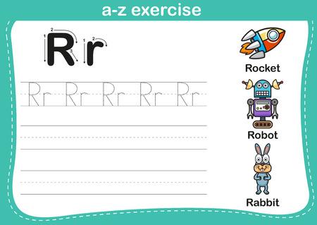 r: Alphabet a-z exercise with cartoon vocabulary illustration, vector