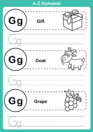 spelling book: Alphabet a-z exercise with cartoon vocabulary for coloring book illustration, vector