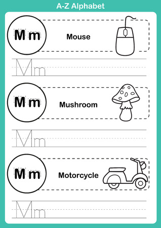 Alphabet a-z exercise with cartoon vocabulary for coloring book illustration, vector Vector