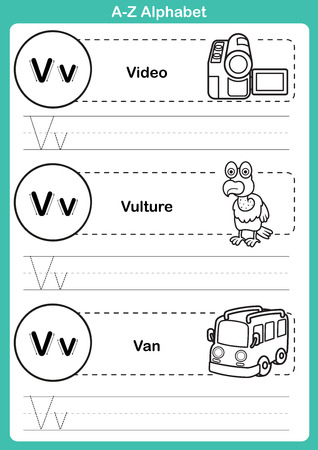 tracing: Alphabet a-z exercise with cartoon vocabulary for coloring book illustration, vector