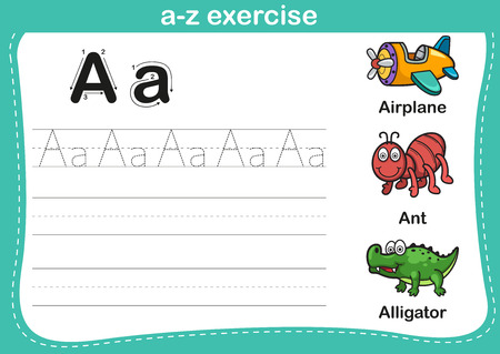 tracing: Alphabet a-z exercise with cartoon vocabulary illustration, vector