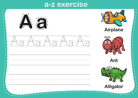 hormiga caricatura: Ejercicio del alfabeto az con ilustraci�n vocabulario historieta, vector