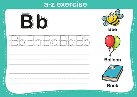 coloring sheet: Alphabet a-z exercise with cartoon vocabulary illustration, vector
