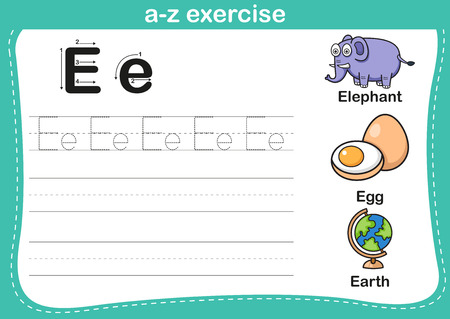 literate: Alphabet a-z exercise with cartoon vocabulary illustration, vector