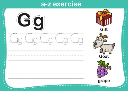 vocabulary: Alphabet a-z exercise with cartoon vocabulary illustration, vector