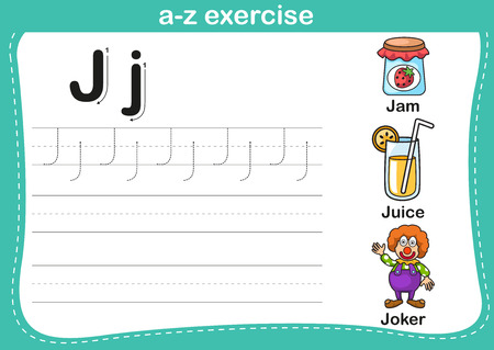 Alphabet a-z exercise with cartoon vocabulary illustration, vector