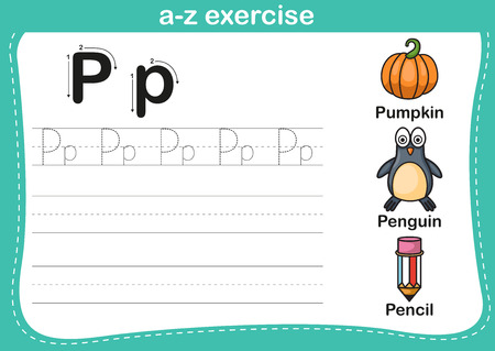 p illustration: Alphabet a-z exercise with cartoon vocabulary illustration, vector