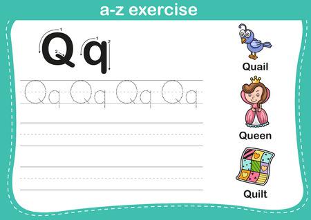 Alphabet a-z exercise with cartoon vocabulary illustration, vector Stock Vector - 37541987