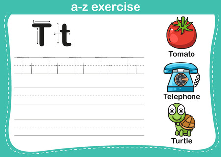children turtle: Alphabet a-z exercise with cartoon vocabulary illustration, vector
