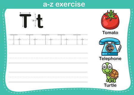 tortuga caricatura: Ejercicio del alfabeto az con ilustración vocabulario historieta, vector