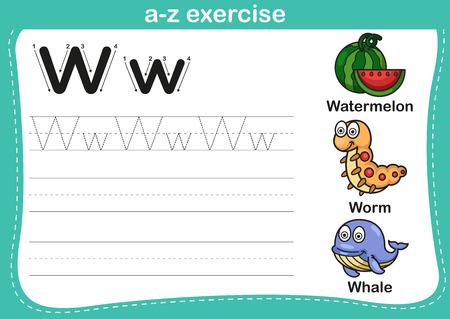 gusano caricatura: Ejercicio del alfabeto az con ilustración vocabulario historieta, vector