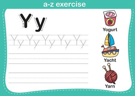 coloring sheets: Alphabet a-z exercise with cartoon vocabulary illustration, vector