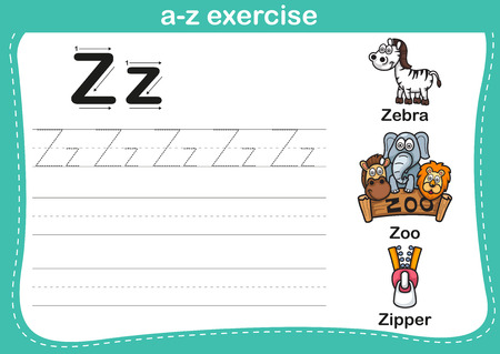 letter a z: Alphabet a-z exercise with cartoon vocabulary illustration, vector