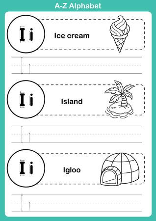 cartoon ice cream: Ejercicio del alfabeto az con vocabulario de dibujos animados para la ilustraci�n de libros para colorear, vector Vectores
