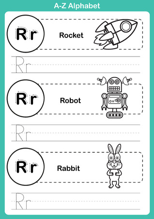 r transportation: Alphabet a-z exercise with cartoon vocabulary for coloring book illustration, vector